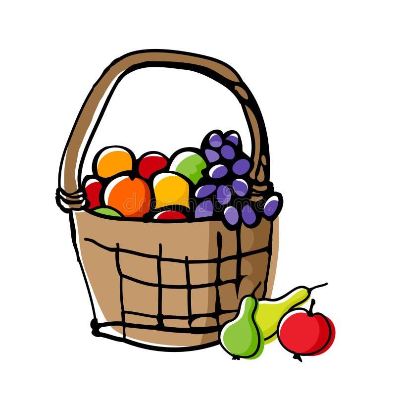 Frutas en cesta de mimbre stock de ilustración