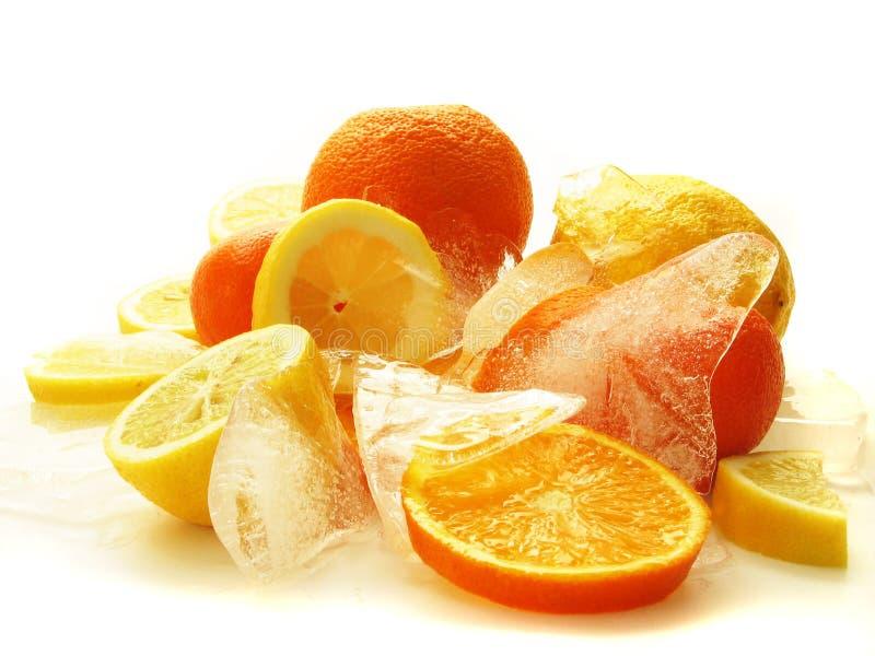 Frutas en el hielo foto de archivo