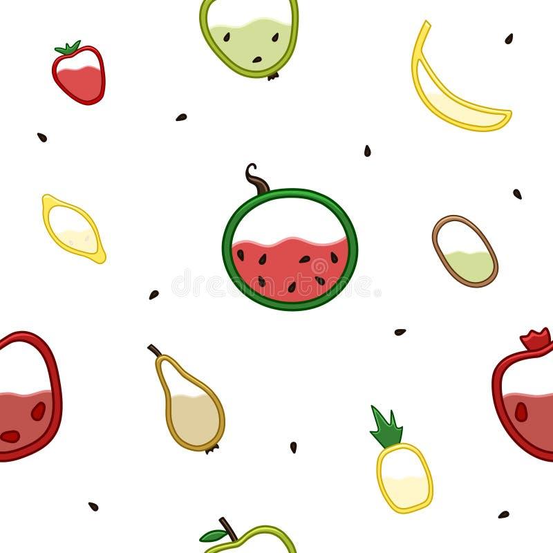 Frutas en el modelo de la visión seccional ilustración del vector