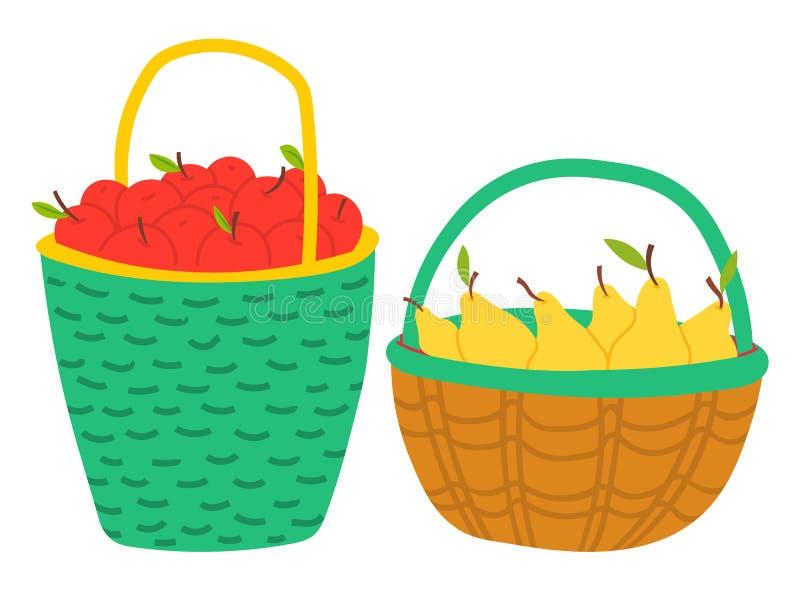 Frutas en la cesta, Apple y la pera, vector de la cosecha stock de ilustración