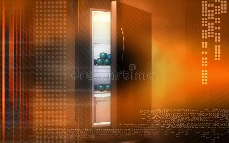 Frutas en un refrigerador stock de ilustración