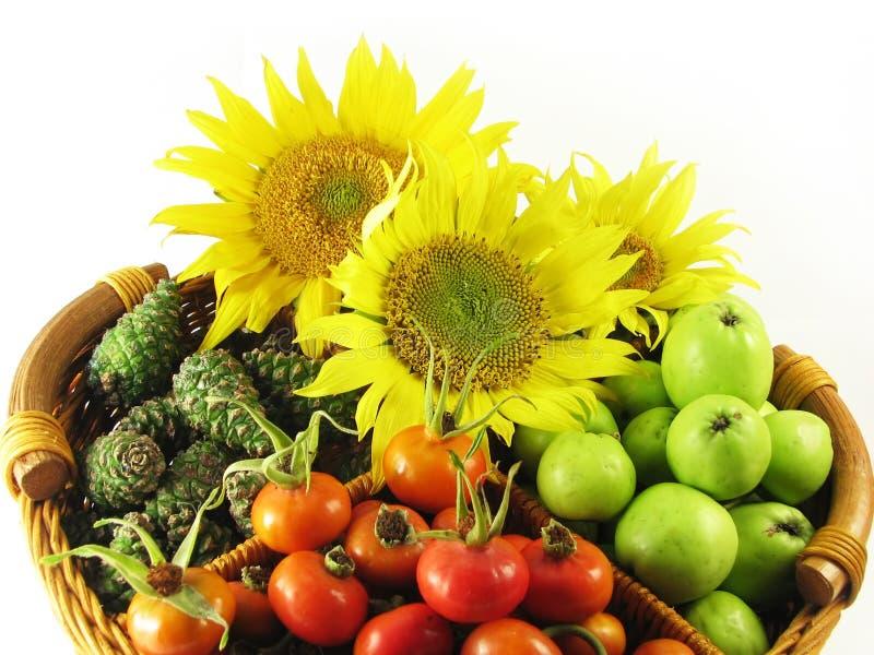Frutas en verano de la cesta fotos de archivo