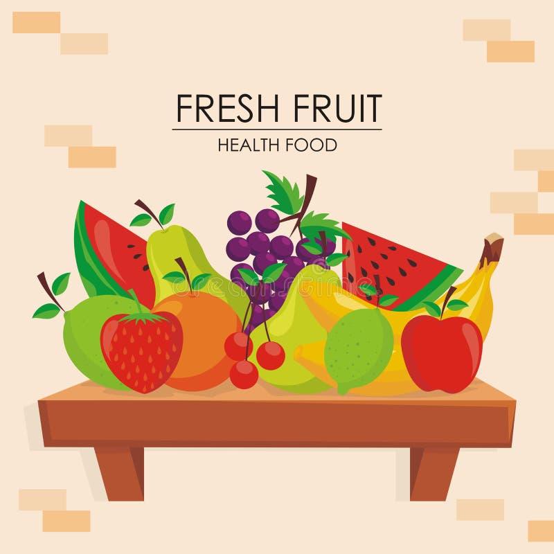 Frutas frescas y diseño orgánico del vector de la plantilla stock de ilustración