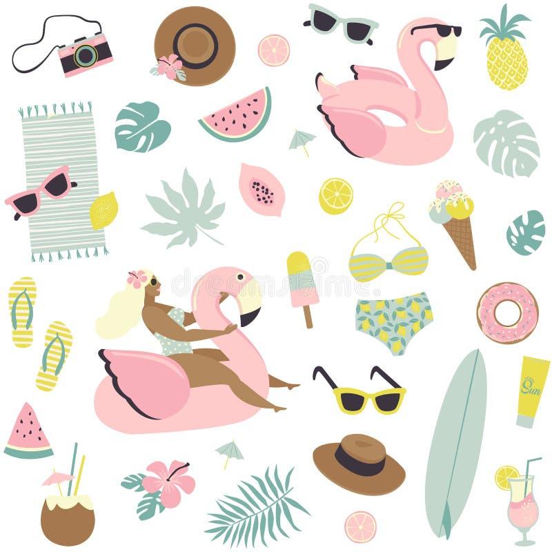 Frutas inconsútiles del modelo del verano lindo, bebidas, helado, gafas de sol, hojas de palma y piscina inflable del flamenco libre illustration