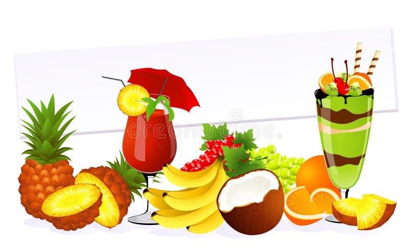 Frutas isoladas ilustração stock