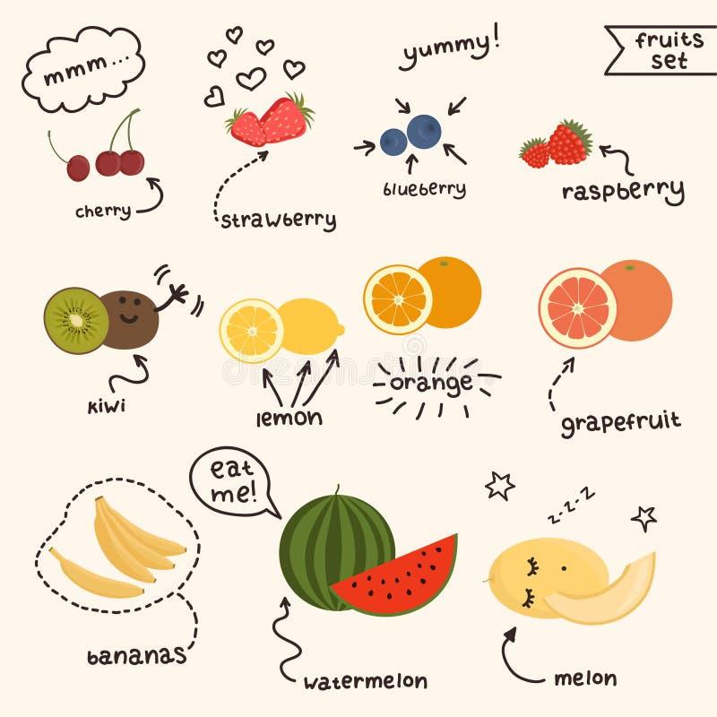 Frutas jugosas frescas fijadas libre illustration
