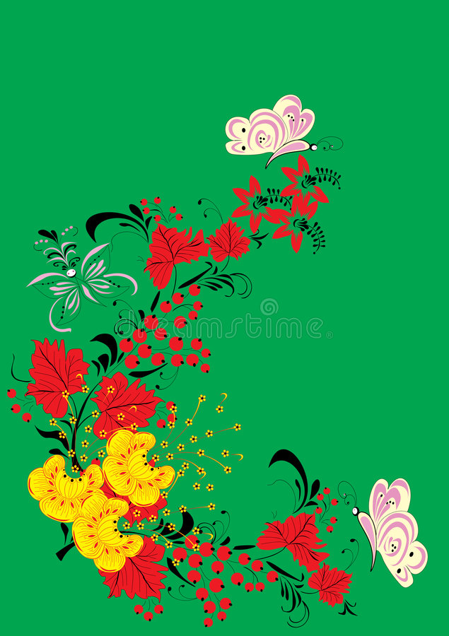 Frutas, mariposas y hojas libre illustration
