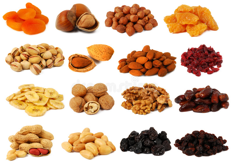 Frutas Nuts e secadas fotos de stock royalty free