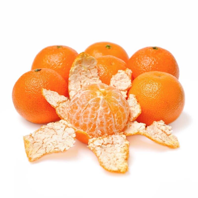 Frutas Purified da casca do mandarino fotos de stock royalty free
