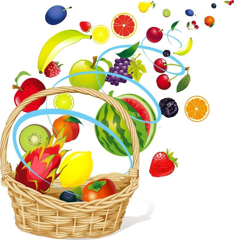 Frutas que flotan en un extracto Windy Whirlpool y la cesta - ejemplo del vector libre illustration