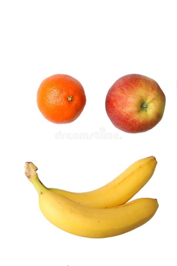 Frutas que imitan una cara sonriente. foto de archivo