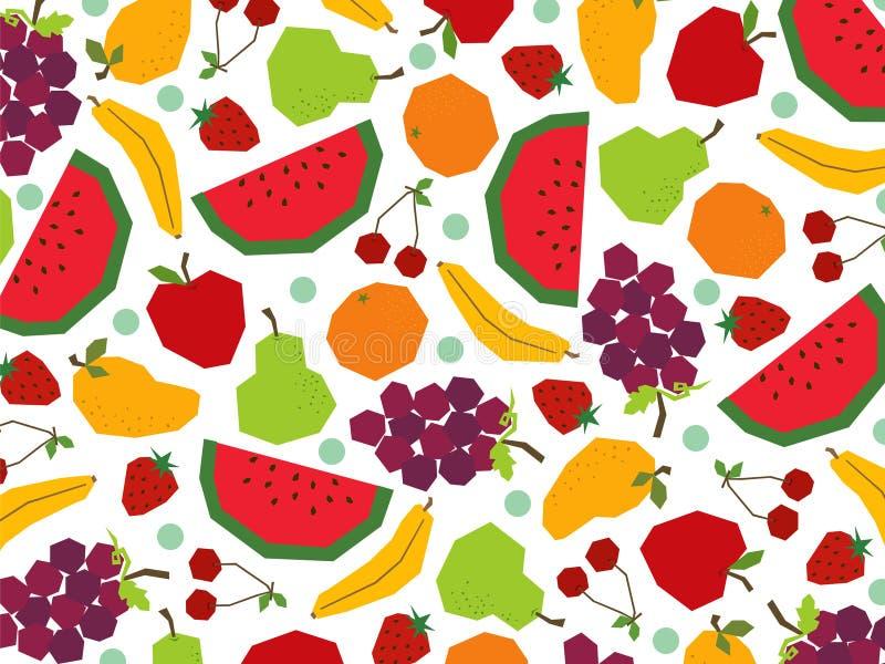 Frutas retros do papercut imagem de stock