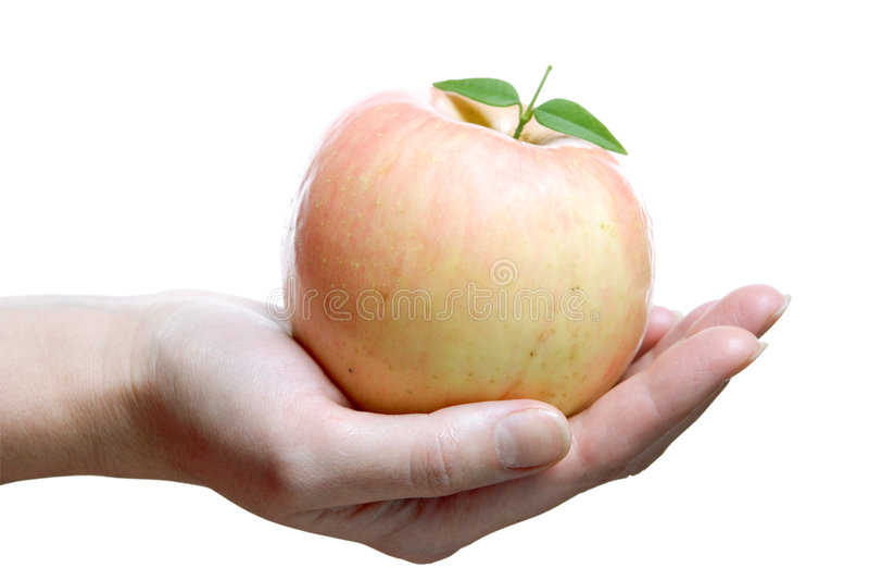 Frutas, Rosa Apple na palma imagens de stock