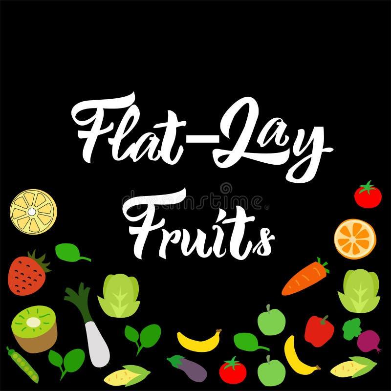 frutas sanas de la mezcla de la Plano-endecha en vector negro del fondo stock de ilustración