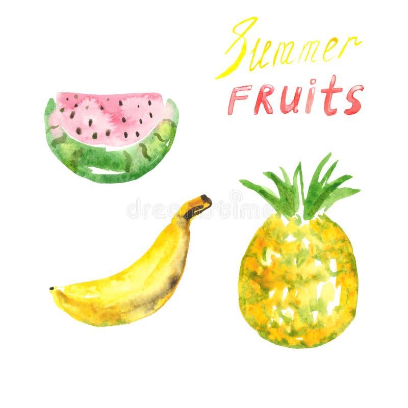 Frutas tropicales dibujadas mano del verano de la acuarela, aisladas en el fondo blanco Plátano, piña y sandía frescos stock de ilustración