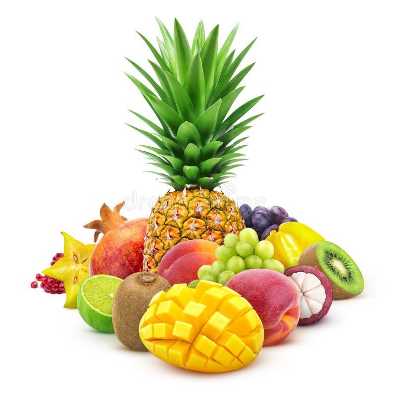 Frutas tropicales enteras y cortar aislado en el fondo blanco ilustración del vector