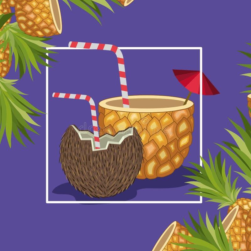 Frutas tropicales frescas de la piña y del coco ilustración del vector