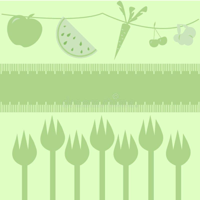 Frutas, veggies e forquilhas da dieta saudável ilustração do vetor