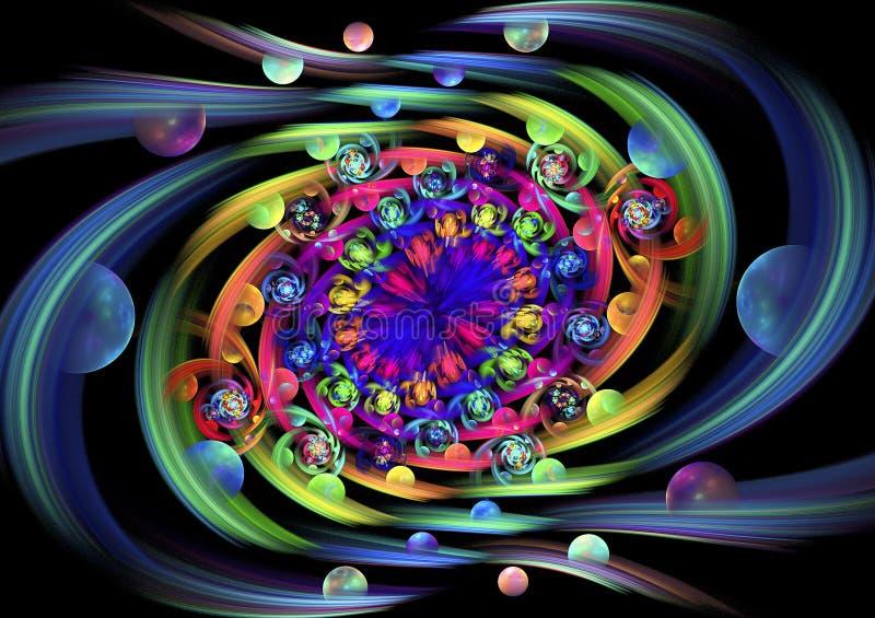 Frutas y flores de Eden Remolino multicolor abstracto en fondo negro fotos de archivo libres de regalías