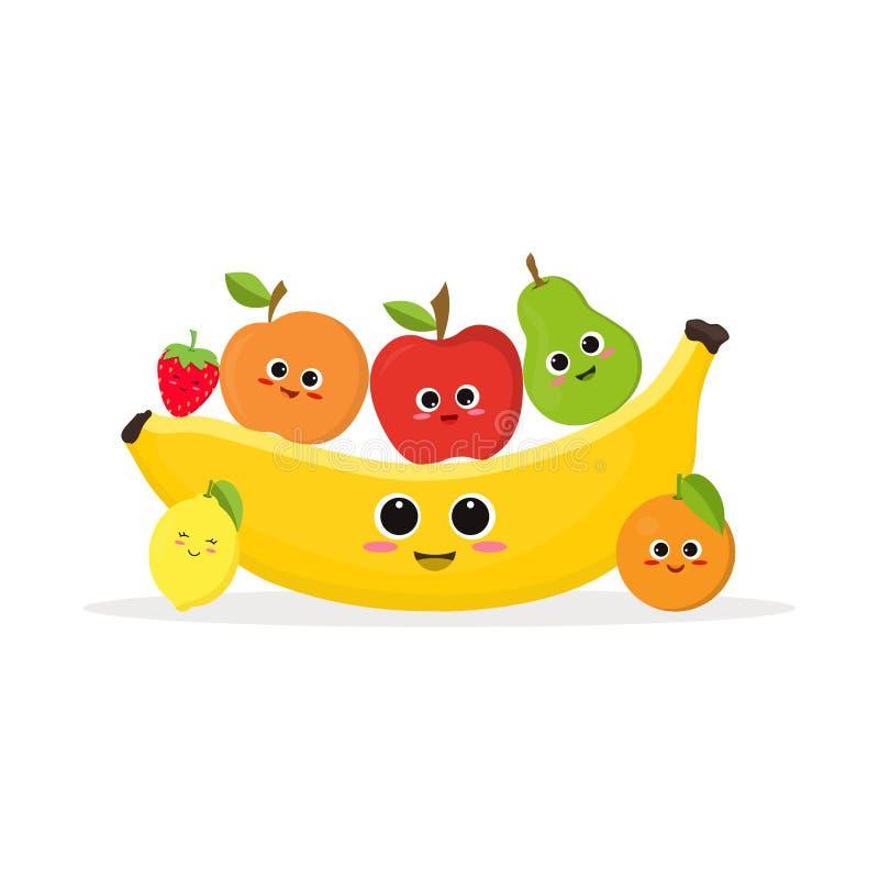 Frutas y plátano divertidos stock de ilustración