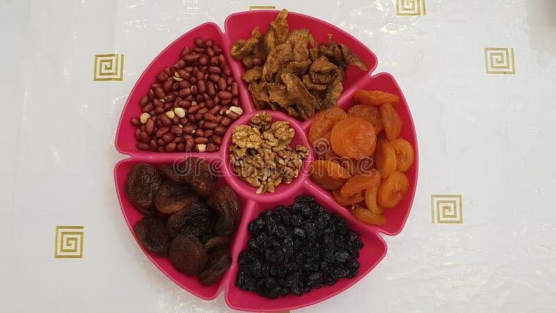 Frutas y tuercas secadas fotografía de archivo libre de regalías