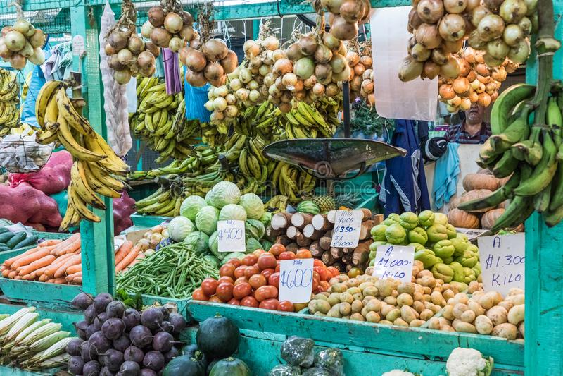 Frutas y verdura mercado del ` s del granjero San Jose, Costa Rica, tro foto de archivo libre de regalías
