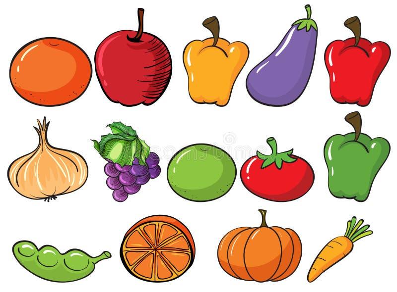 Frutas y verdura sanas stock de ilustración