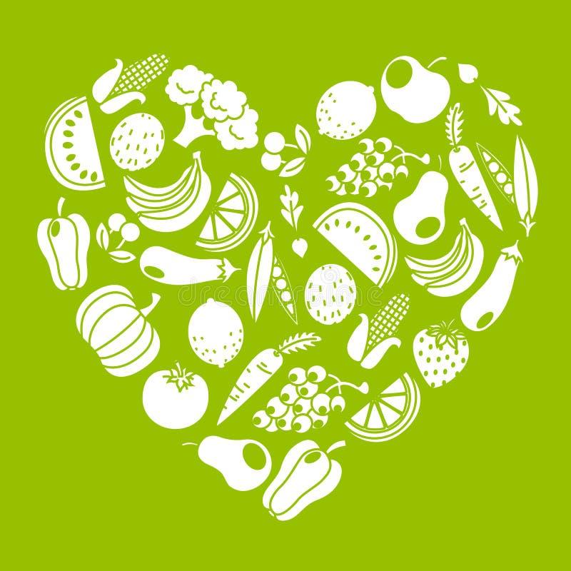 Frutas y verduras ilustración del vector