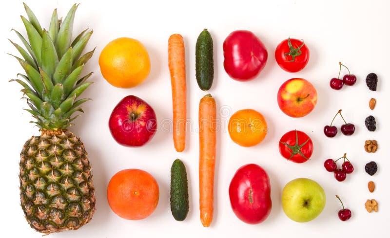 Frutas y verduras coloreadas arco iris fotos de archivo