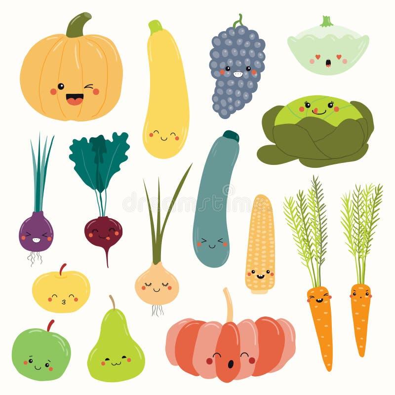 Frutas y verduras de Kawaii fijadas ilustración del vector