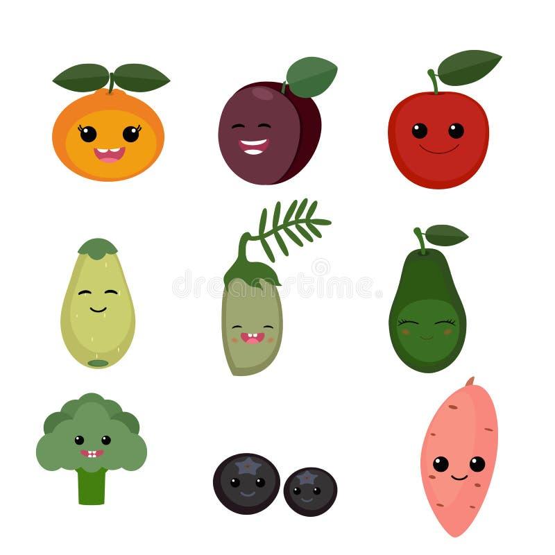 Frutas y verduras de la historieta libre illustration