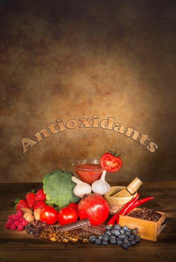 Frutas y verduras de los antioxidantes imágenes de archivo libres de regalías