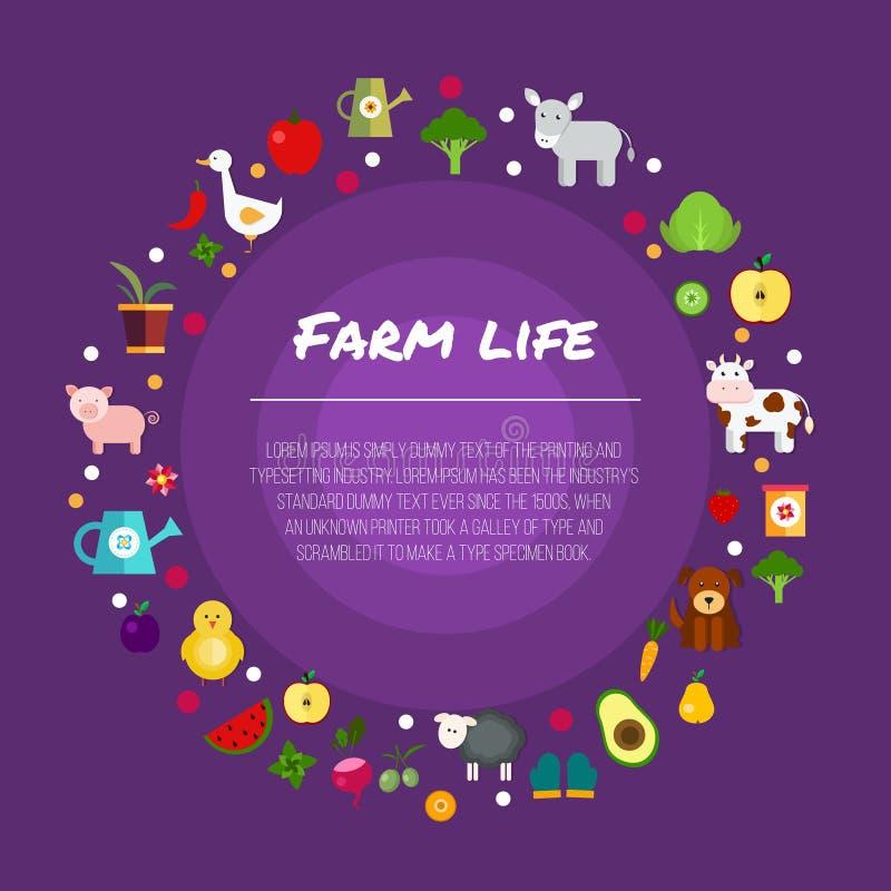 Frutas y verduras del jardín de la vida de la granja libre illustration