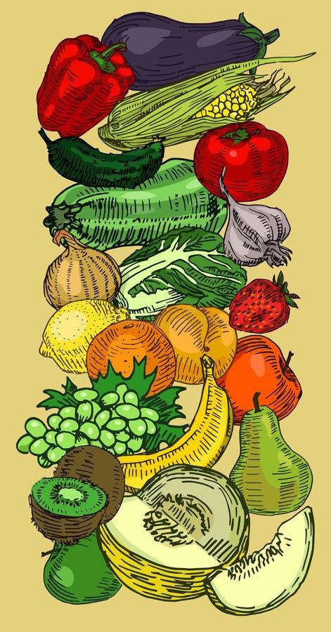 Frutas y verduras exhaustas stock de ilustración