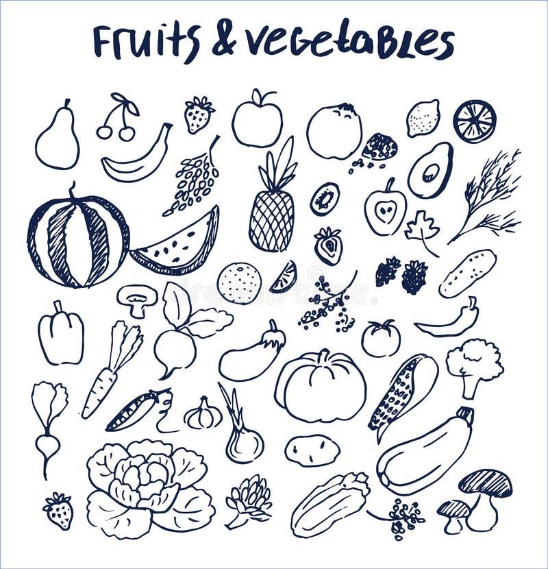 Frutas y verduras fijadas de elementos dibujados mano stock de ilustración