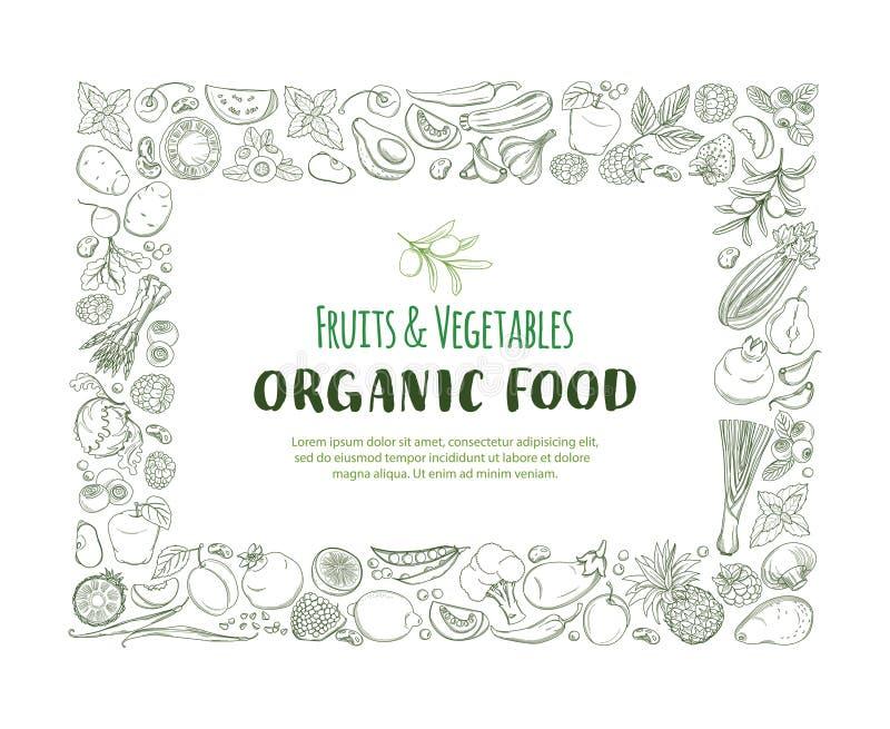 Frutas y verduras frescas de la granja orgánica del modelo de la frontera del capítulo de Restangle libre illustration