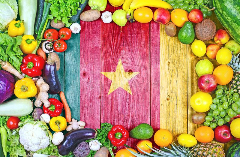 Frutas y verduras frescas del Camerún fotografía de archivo