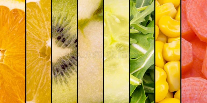 Frutas y verduras - naranja, fruta cítrica, kiwi, Apple, pepino, ensalada, maíz y zanahorias de la colección imágenes de archivo libres de regalías