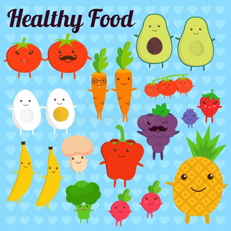 Frutas y verduras sonrientes del kawaii lindo en fondo azul Colección sana del estilo Ilustración del vector stock de ilustración