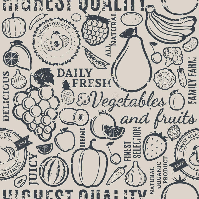 Frutas y verduras tipográficas p inconsútil diseñado retro del vector ilustración del vector