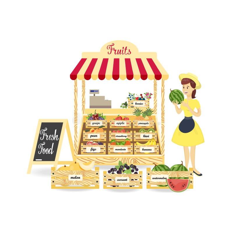 Frutifica o mercado de produto fresco ilustração do vetor