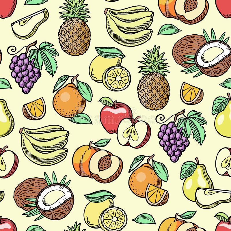 Frutificam a banana de maçã frutado e a ilustração gráfica do estilo do vintage retro velho feito a mão exótico do esboço da papa ilustração stock