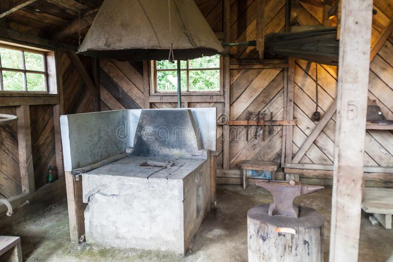 FRUTILLAR, CHILE - MARCH 1, 2015: Interior of blacksmiths in Historic German Colonial Museum in Frutillar village. The. Region is known for a strong population royalty free stock photos