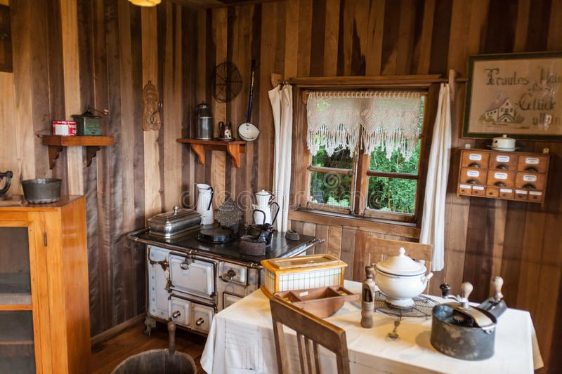 FRUTILLAR, CHILE - MARCH 1, 2015: Interior of a traditional house in Historic German Colonial Museum in Frutillar. Village. The region is known for a strong royalty free stock photography