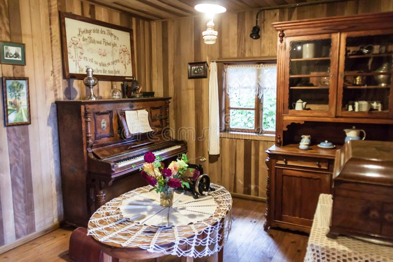 FRUTILLAR, CHILE - MARCH 1, 2015: Interior of a traditional house in Historic German Colonial Museum in Frutillar. Village. The region is known for a strong royalty free stock image