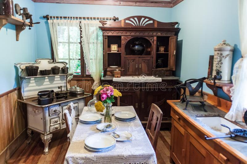 FRUTILLAR, CHILE - MARCH 1, 2015: Interior of a traditional house in Historic German Colonial Museum in Frutillar. Village. The region is known for a strong stock photo