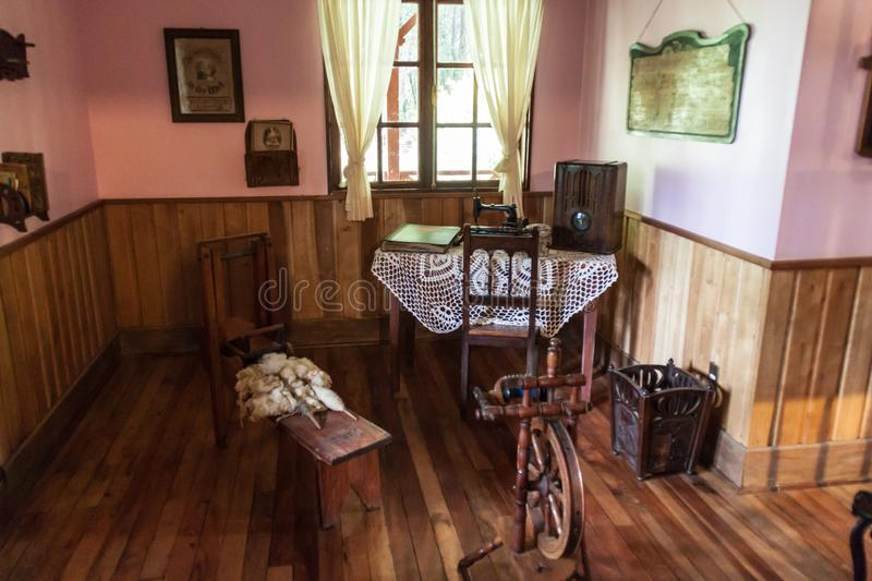 FRUTILLAR, CHILE - MARCH 1, 2015: Interior of a traditional house in Historic German Colonial Museum in Frutillar. Village. The region is known for a strong stock photos