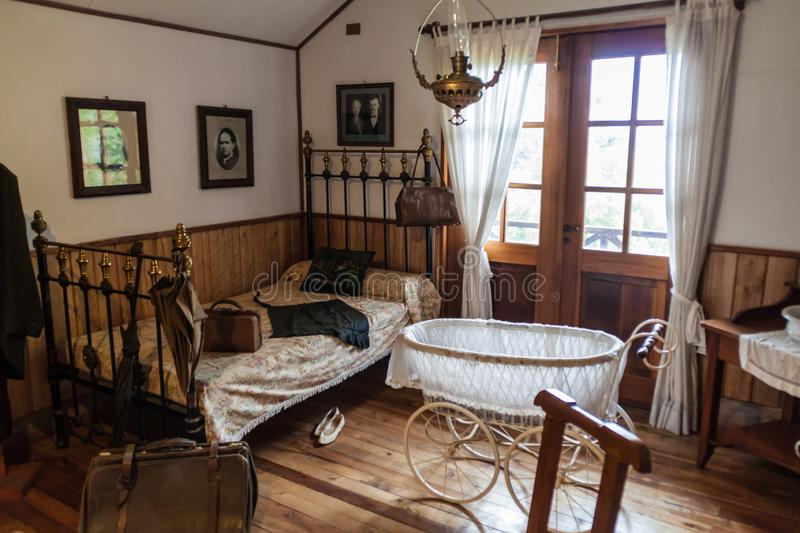 FRUTILLAR, CHILE - MARCH 1, 2015: Interior of a traditional house in Historic German Colonial Museum in Frutillar. Village. The region is known for a strong royalty free stock photo