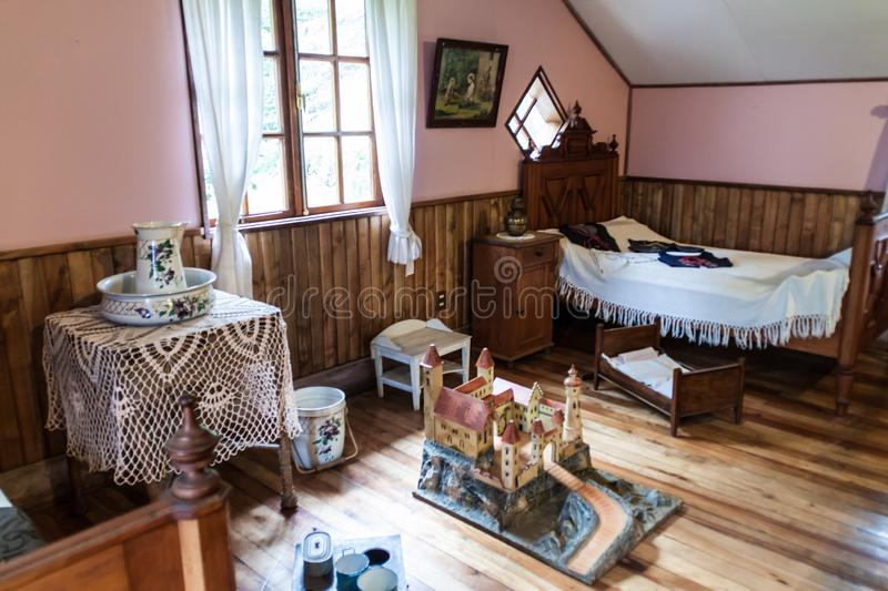 FRUTILLAR, CHILE - MARCH 1, 2015: Interior of a traditional house in Historic German Colonial Museum in Frutillar. Village. The region is known for a strong royalty free stock photos