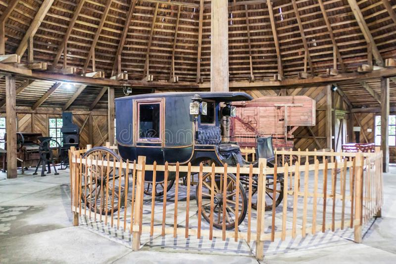 FRUTILLAR, CHILE - MARCH 1, 2015: Old coach in Historic German Colonial Museum in Frutillar village. The region is known. For a strong population of german stock images